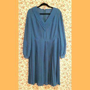Vintage 1980 Sheer Blue Pleated Dress Plus